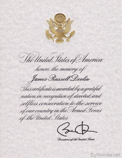 James R. Devlin-Presidential Memorial Certificate